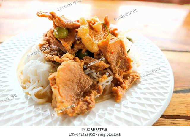 panang curry or curry with pork and vermicelli