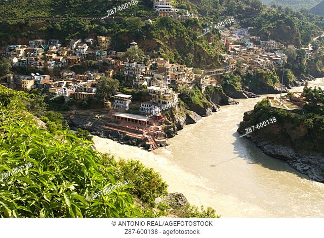 Confluence of rivers Alaknanda and Bhagirathi. Devaprayag. India