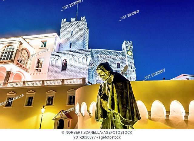 Principality of Monaco, Monte Carlo. Francois Grimaldi said 'the wily' Malizia in Italian in front of Prince's Palace at night