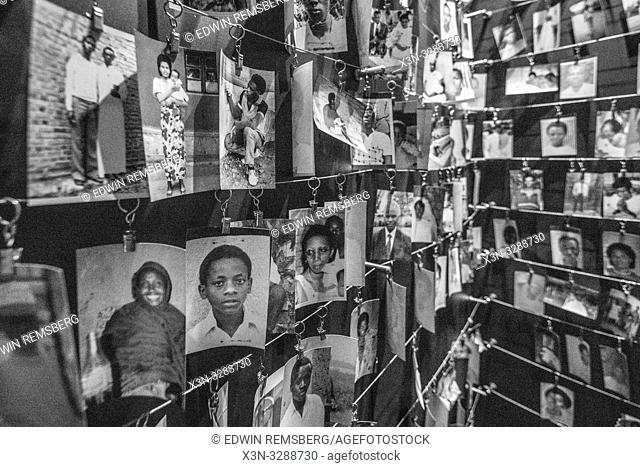 Photographs of known victims of the 1994 Rwandan Genocide line the walls of the Kigali Genocide Memorial, Kigali, Rwanda