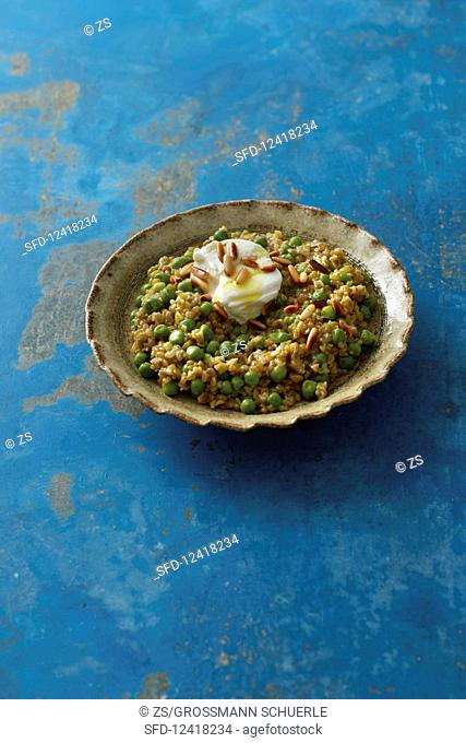 Freekeh (green wheat with peas from Syria)