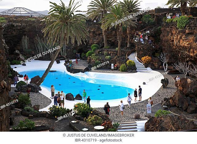 Swimming pool in lava cave, art and culture centre Jameos del Agua, built by artist César Manrique, Lanzarote, Canary Islands, Spain