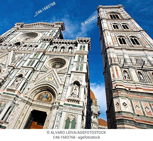 Duomo  «Santa Maria del Fiore« cathedral and «Campanile di Giotto«, Florence, Tuscany, Italy