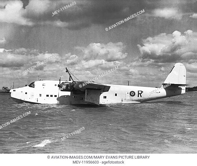 Captured Luftwaffe Blohm & Voss Bv-222 Viking Seaplane with RAF Roundels Marking Parked in Water at Anchor after Ferry-Flight from Norway by Capt Eric Winkle...