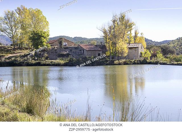 Autumn country and old pond in Mora de Rubielos Teruel, Aragon, Spain