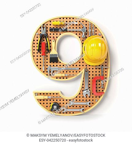 Number 9 nine. Alphabet from the tools on the metal pegboard isolated on white. 3d illustration
