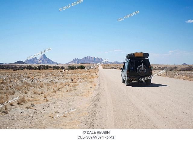 Driving towards Spitzkoppe mountain, Namibia
