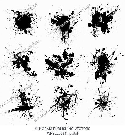 Collection of nine black and white ink splat stains