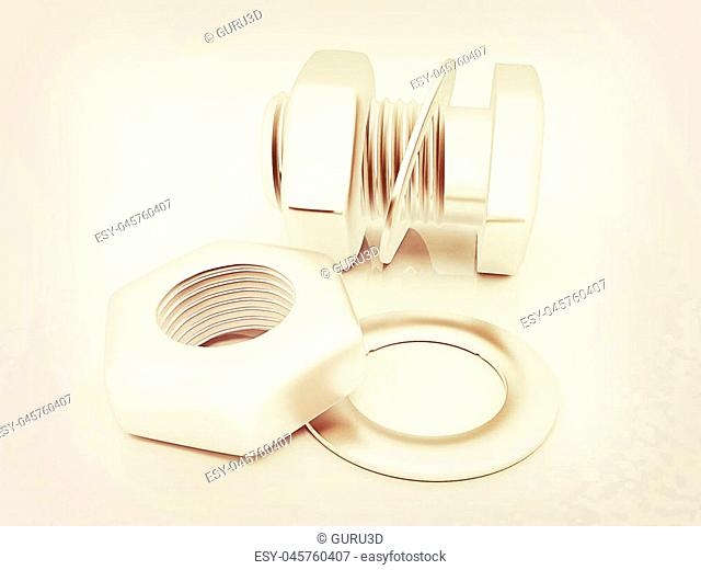 stainless steel bolts with a nuts and washers on white. 3D illustration. Vintage style