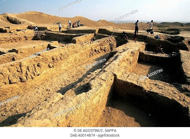 Excavations in the archaeological site of Ancient Merv (UNESCO World Heritage List, 1999), Mary, Turkmenistan, 7th century