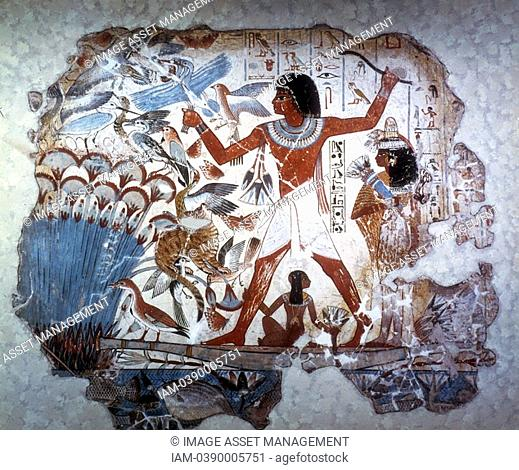 Ancient Egyptian hunting wildfowl with a throwing stick  Picture shows Papyrus reed bed with fish and birds  Papyrus Cyperus papyrus, the paper reed
