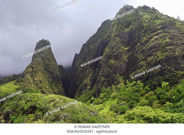 The Iao Needle and gulch at Iao Valley State Park Maui