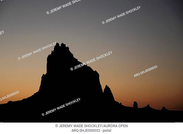 The prominent rock formation known as Shiprock, New Mexico
