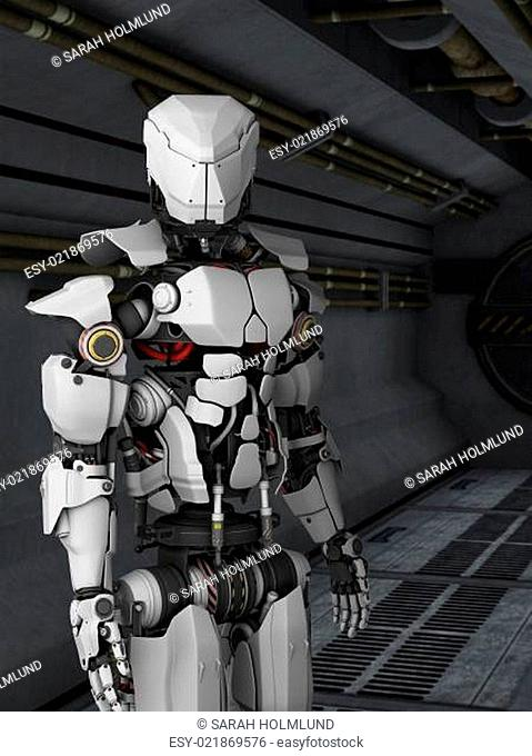 Futuristic robot in sci fi corridor