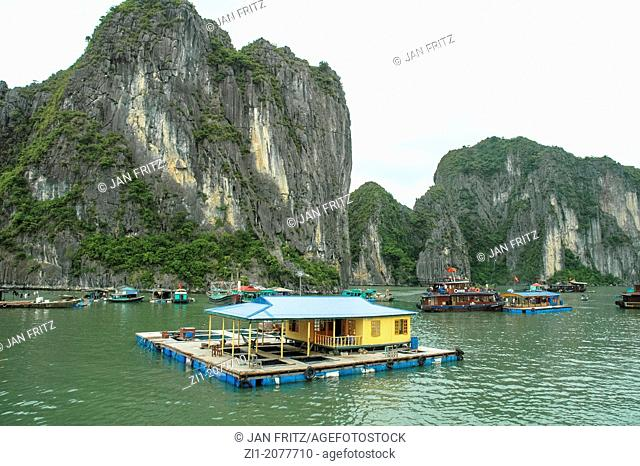 floating house at Halong Bay in Vietnam