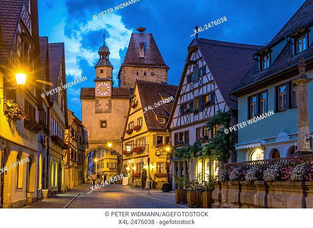 Rothenburg ob der Tauber, Markus Tower, Romantische Strasse, Romantic Road, Franconia, Bavaria, Germany, Europe