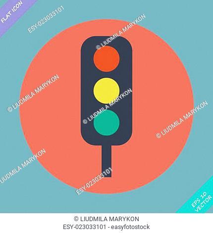 Traffic lights icon - vector illustration