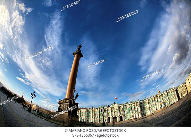 Tall column in front of the Winter Palace which houses the Hermitage Museum in St Petersburg