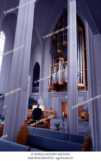 Interior of the Hallgrímskirkja, a Lutheran parish church in Reykjavík, Iceland. Dated 21st Century