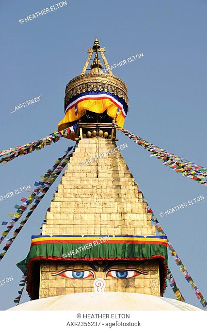 The Buddhist stupa of Boudhanath dominates the skyline and is one of the largest in the world; Boudhanath, Nepal