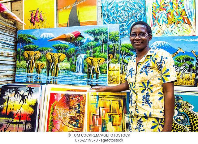 Tingatinga paintings in art shop, Tingatinga Centre, Oyster Bay, Dar-es-Salaam, Tanzania