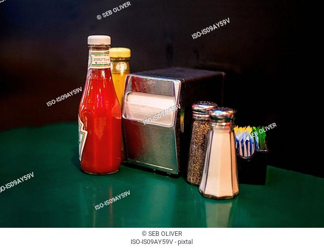 Condiments on table in diner