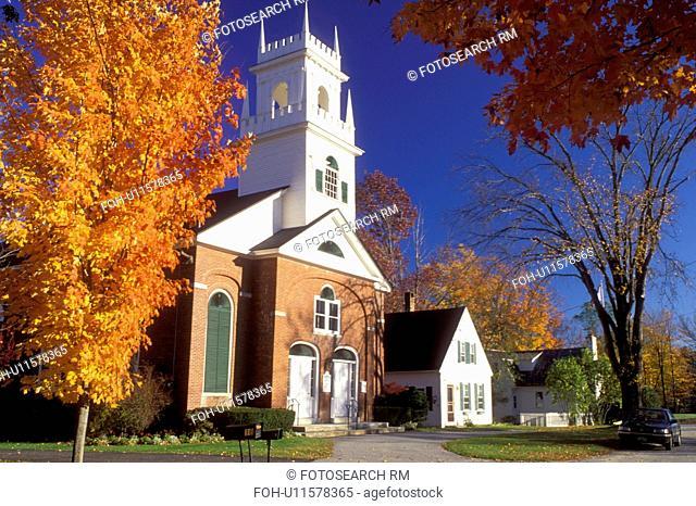 church, Jaffrey Center, NH, New Hampshire, First Church in Jaffrey Center in the autumn