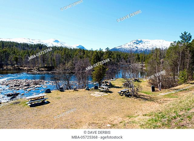 Spring, river, mountains, resting place, Romsdal, Norway, Europe