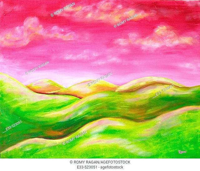 'Pink Sky' Acrylic on canvas. 2003. Private collection