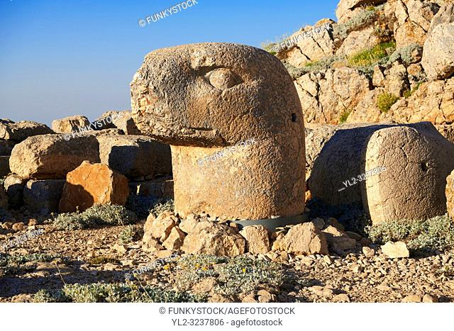Statue head of an Eagle in front of the stone pyramid 62 BC Royal Tomb of King Antiochus I Theos of Commagene, east Terrace, Mount Nemrut or Nemrud Dagi summit