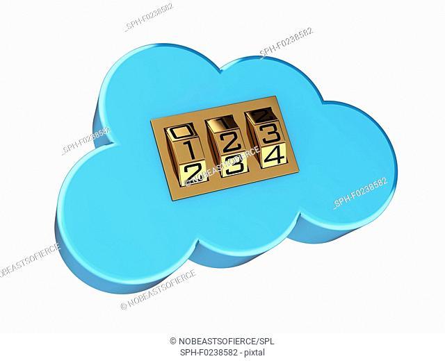 Secure cloud computing, conceptual illustration