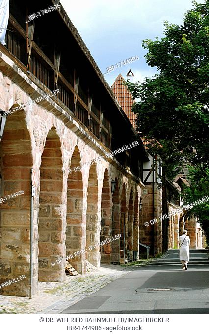 City wall near the Maxtor gate, Nuremberg, Middle Franconia, Bavaria, Germany, Europe