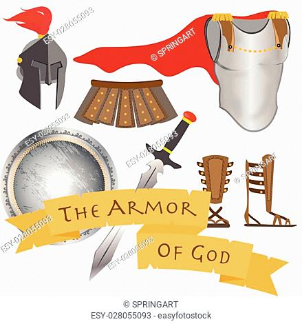 The Armor of God Warrior Jesus Christ Holy Spirit Vector Illustration