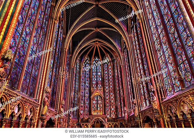Stained Glass Cathedral Saint Chapelle Paris France. Saint King Louis 9th created Sainte Chapelle in 1248 to house Christian relics