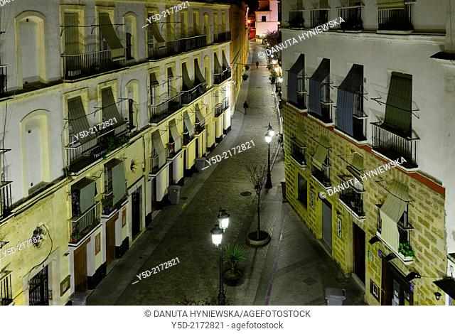Calle Plocia by night, Cadiz, Andalusia, Spain