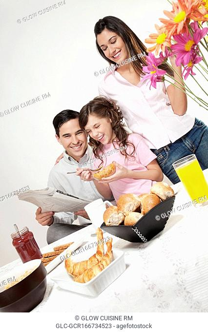Family at a breakfast table