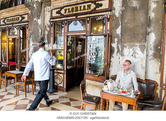 Italy, Venetia, Venice, listed as World Heritage by UNESCO, Piazza San Marco (St Mark's Square), cafe Florian
