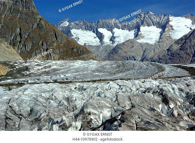 Switzerland, Europe, Wallis, Alps, Riederalp, Landscape, Mountain, autumn, clouds, Aletschgletscher, glacier, ice