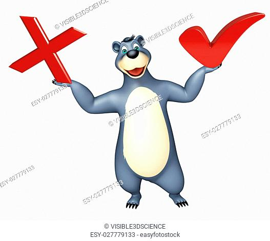 3d rendered illustration of Bear cartoon character with right sign and wrong sign