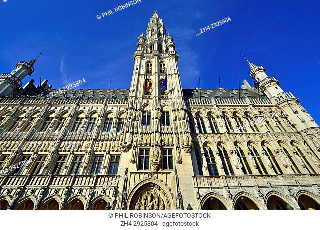 Brussels, Belgium. Grand Place: Hotel de Ville / Stadhuis / Town Hall (15thC, Gothic) Facade