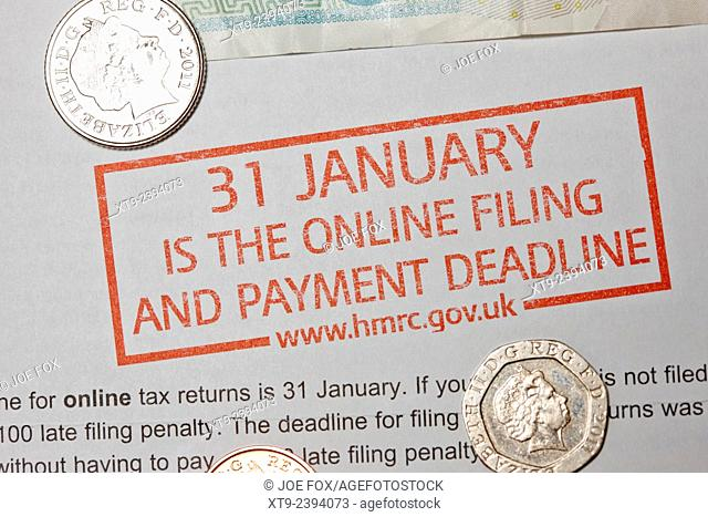 warning for end of january deadline for uk hmrc inland revenue self assessment tax filing