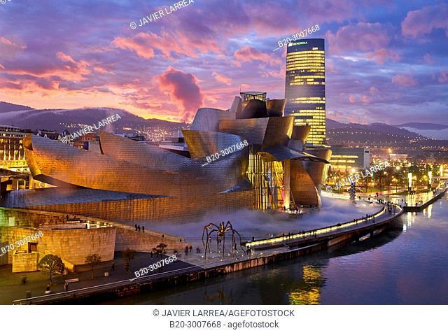 Iberdrola tower, Guggenheim Museum, Bilbao, Bizkaia, Basque Country, Spain, Europe