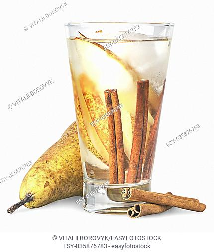 Pear and cinnamon in sweaty glass of lemonade isolated on white background