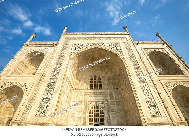 Architectural detail of the side of the Taj Mahal tomb, located in Agra, India
