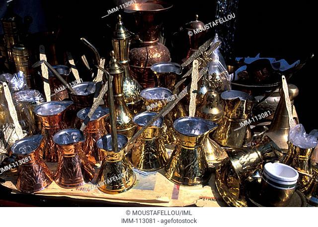 Thrace, Rodopi Komotini, Market, shop, cooper utensils, coffee-pots