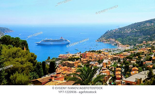 Big and luxury cruising ship 'Pullmantur' in French riviera between Saint Tropez and Monaco