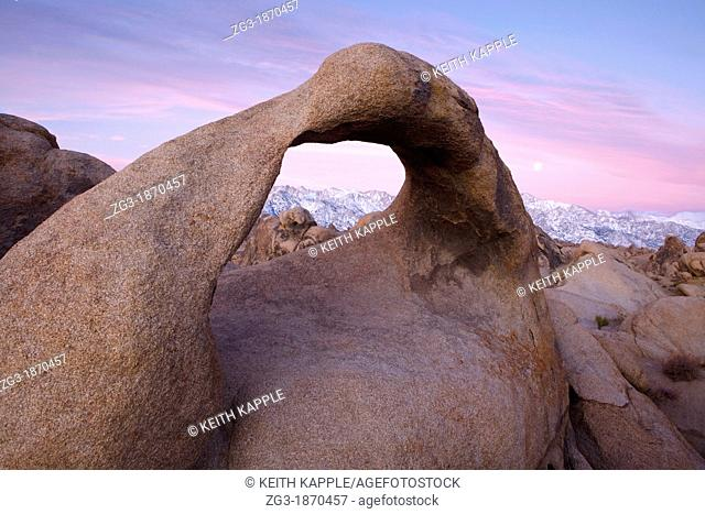 Sunrise at Mobius Arch in the Alabama Hills with the Sierras in the background  Alabama Hills, Lone Pine, California, USA