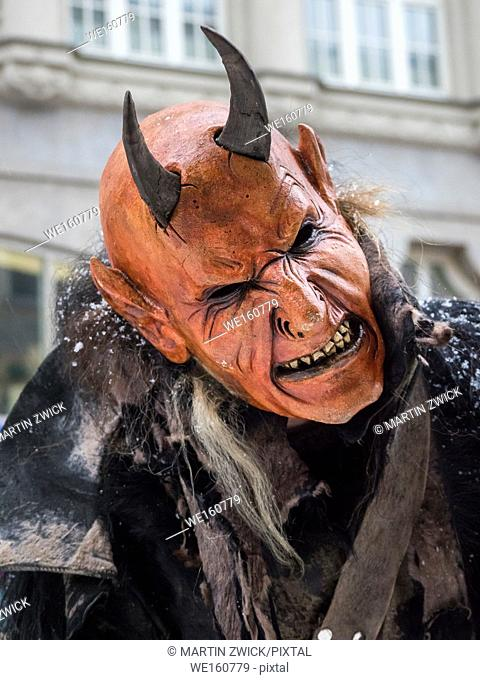 Krampuslauf or Perchtenlauf during advent in Munich, an old tradition taking place during christmas time in the alps of Bavaria, Austria and South Tyrol