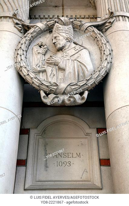 Statue of St. Anselm 1093 Westminster Cathedral from Victoria Street, London UK