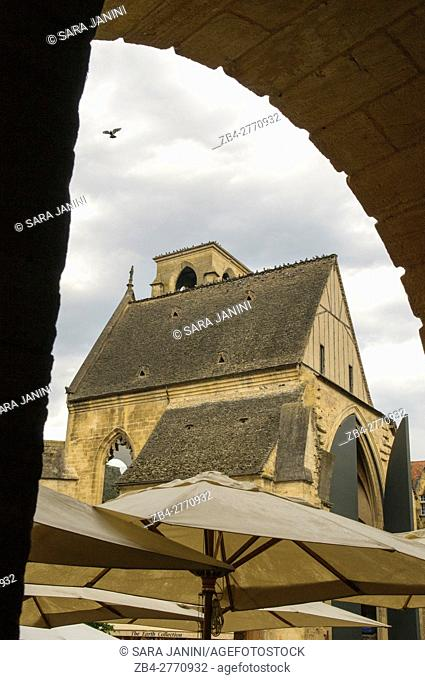 Place de la Liberté and the covered market in the old St. Mary's Church, Sarlat, Dordogne, Aquitaine, France
